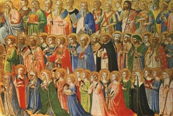 Fra Angelico Święci wielbią Chrystusa w niebie