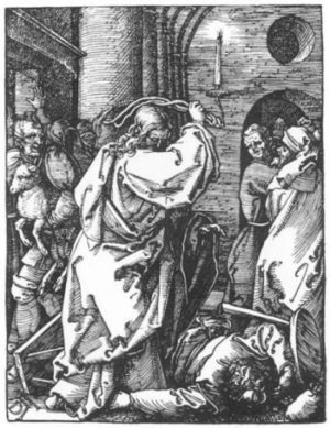 Albrecht Dürer Jezus wypędza kupców ze świątyni