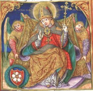 Święty Wojciech z herbem - miniatura
