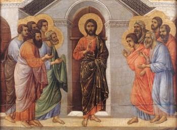 Duccio di Buoninsegna Jezus przechodzi przez zamknięte drzwi