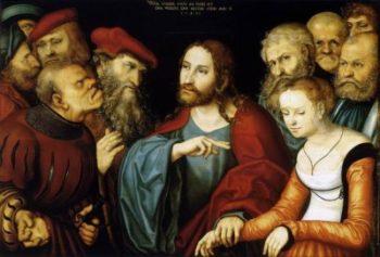 Lucas Cranach Starszy Chrystus i cudzołożnica
