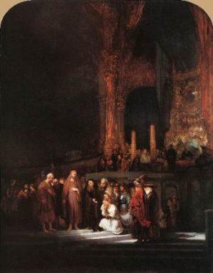 Rembrandt van Rijn Chrystus i cudzołożnica