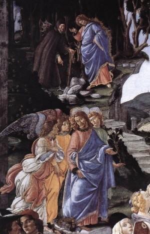 Sandro Boticelli Trzy pokusy Jezusa. (detal)