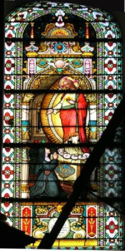 Witraż w Hombourgu Jezus i św Małgorzata Maria Alacoque