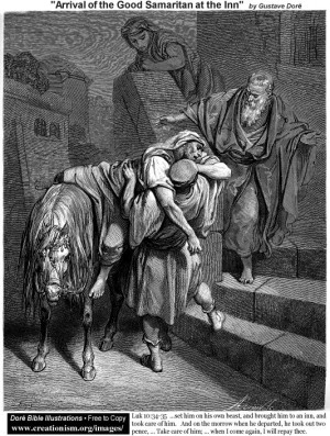 Gustave Doré Przybycie Samarytanina do Gospody