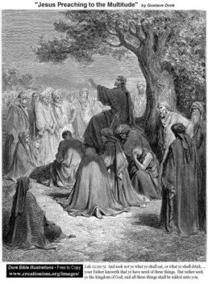 Gustave Doré Jezus naucza tłumy