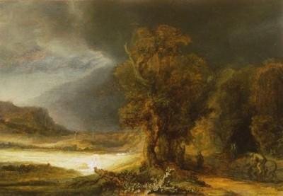 Rembrandt Krajobraz z miłosiernym Samarytaninem
