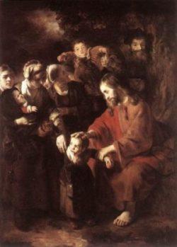 Nicolaes Maes Jezus błogosławi dzieci