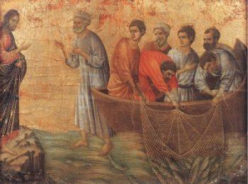 Duccio di Buoninsegna Jezus objawia się nad Jeziorem Tyberiadzkim