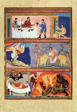 Ewangeliarz z Echternach Bogacz i Łazarz