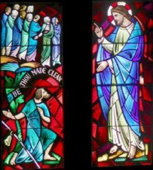 Chrystus uzdrawia trędowatego Witraż w Baltimore