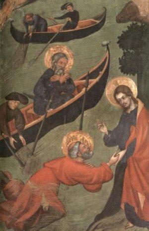Lluis Borrassà Św. Piotr chodzi po morzu