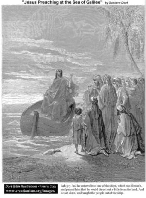 Gustave Doré Jezus naucza nad Jeziorem Galilejskim