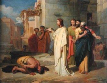 Jean Marie Melchior Doze Jezus uzdrawia trędowatego