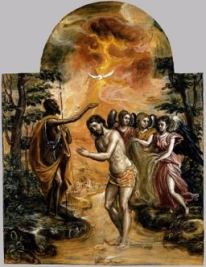 El Greco Chrzest Chrystusa