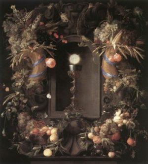 Jan Davidsz de Heem Eucharystia w wieńcu z owoców