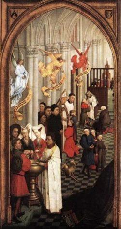 Rogier van der Weyden Siedem Sakramentów (strona lewa)