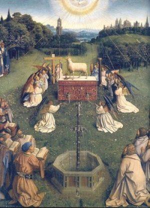 Jan van Eyck Źródło życia Ołtarz Gandawski