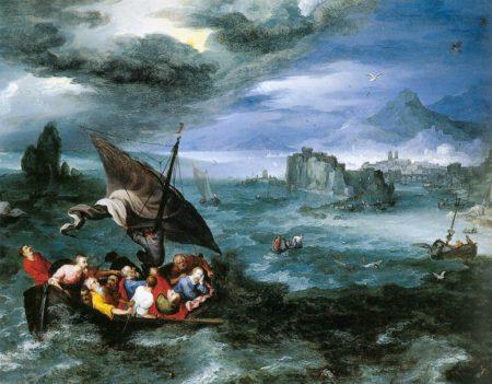 Jan Brueghel starszy Chrystus w czasie burzy na Morzu Galilejskim